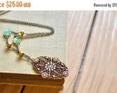 25% OFF SALE Edwardian inspired antiqued gold and bronze large filigree pendant necklace with rhinestone, pearl, & turquoise flower accents,
