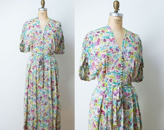 1940s Novelty Print Dress / 40s Sheer Rayon Dress