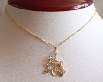 10K Mom Necklace #1 Mother Two Tone Rose 18 Inch Chain Vintage V0726
