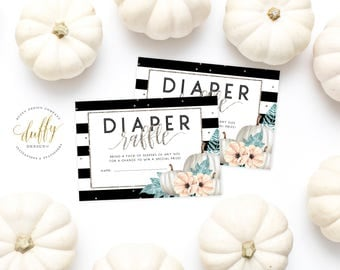 Diaper Raffle Ticket Pumpkin, Diaper Raffle Card, Diaper Raffle Insert, Baby Shower Diaper Raffle, Diaper Raffle Printable, INSTANT DOWNLOAD