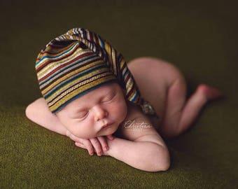Newborn sleepy cap (Logan) - photography prop - stripes, green, blue, brown