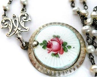Sterling Silver Blessed Virgin Mary Necklace, Vintage Guilloche Sterling Sliding Medal