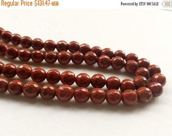ON SALE 50% WHOLESALE 5 Strands Red Jasper Beads, Natural Red Jasper Faceted Round Balls, Red Jasper Necklace, 8mm, 14 Inch - Rama15
