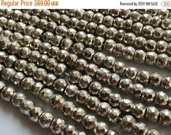 ON SALE 55% Silver Pyrite Beads, Silver Pyrite Faceted Rondelles, Pyrite Necklace, 7.5mm Beads, 8 Inch Strand, 35 Pcs, Pyrite Wholesale