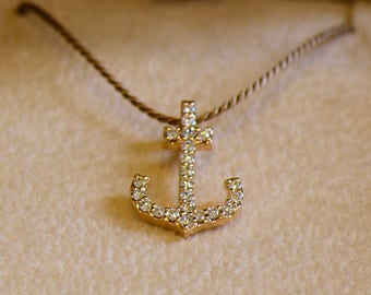 Solid Gold Diamond Anchor Necklace - Available in 14k, 18k Rose, Yellow, White Gold & Platinum. Fine Jewelry