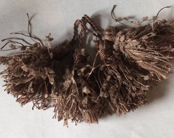 Four TASSELS soft brown copper so pretty