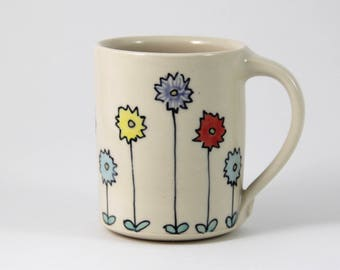 Floral Pattern Coffee Mug handmade pottery coffee cup tea cup cute ceramics illustrated pottery colorful zinnia flower illustration