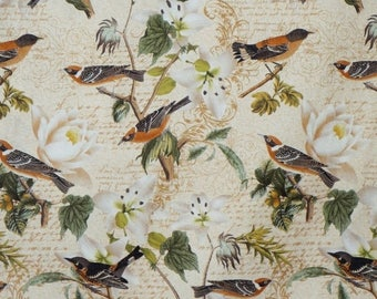 ON SALE SPECIAL--Natural Bird Collage Print Pure Cotton Fabric--By the Yard