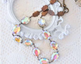Aurora Borealis Necklace, Aurora Borealis Collet, Crystal Necklace, Art Deco Necklace, Northern Lights, Layering Necklace, Estate Jewelry