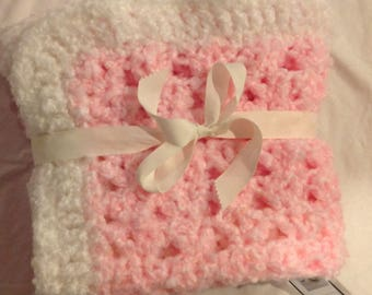 Granny square pink and white cloudy super soft blanket afghan