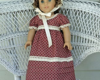 Historical Regency Era Empire in Brick Red and Ivory with Bonnet-Handmade Will Fit 18 Inch Dolls like American Girl