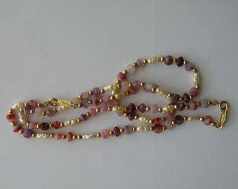 Napier beaded necklace, faux pearls, faux amethyst, faux quartz beads  or necklace and bracelet 2 in 1