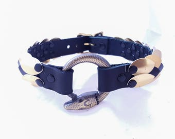 Scale Collar with Snake Ring in Black and Gold
