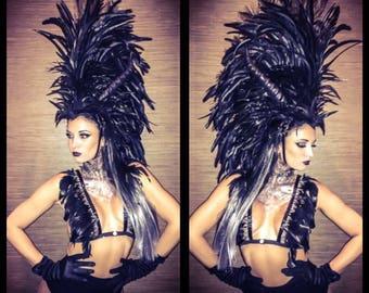 Black Feather Headdress- Feathered Headdress, Horns, Horned Headdress