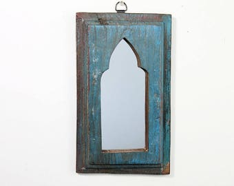 Moroccan Mirror Vintage Wood Framed Mirror Reclaimed Wood Wall Art Distressed Turquoise Mirror Moroccan Decor Turkish