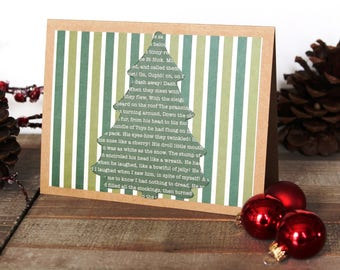 Handmade Christmas Card, Twas the Night Before Christmas, Tree, Blank Inside, Brown Craft Paper, One of a Kind,Free US Shipping
