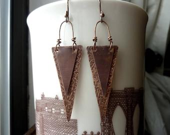 Long Antique Copper Triangular Earrings, Geometric, Rustic, Tribal, Bohemian, Statement Earrings