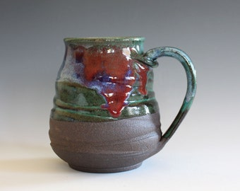 LARGE Ceramic Mug, 18 oz, ceramic cup, handthrown mug, stoneware mug, pottery mug, unique coffee mug, ceramics and pottery
