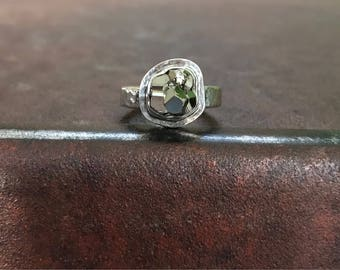Pyrite Dodecahedron Nugget & Sterling Silver Ring - Pyrite Ring