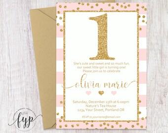 Rosa Und Gold 1. Geburtstags Einladung, Ersten Geburtstags Einladung,  Mädchen 1