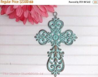 ON SALE Decorative Wall Cross / Patina / Ornate Metal Cross / Iron Wall Cross