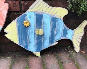 Fish Wall Art Sign Beach House Blue Yellow Striped Coastal Decor by CastawaysHall - Ready to Ship