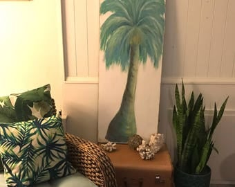 Original Palm Tree Painting Under The Turquoise Palm Beach House Art Wall Decor Door Painting by CastawaysHall  - READY TO SHIP