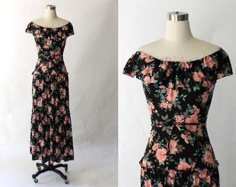 1970s Cold Shoulder Maxi Dress // 70s Vintage Long Tiered Floral Jersey Knit Dress // XS