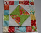 Quilted Table Topper with Rainbow Colors, Mini Quilt, Quilted Mug Rug Mug Mat, Summer Flowers Table Mat, Quilted Candle Mat, Patchwork Quilt