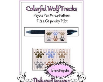 Bead Pattern Peyote(Pen Wrap/Cover)-Colorful Wolf Tracks