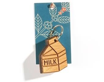 Milk / Wood Keychain