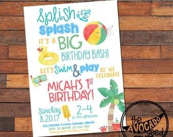 Splish Splash Pool Party Invitation - First Birthday - DIY Printing or Professional Prints via Convo