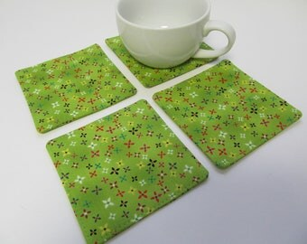 Set Of 4 Fabric Coasters/Flowers On Green