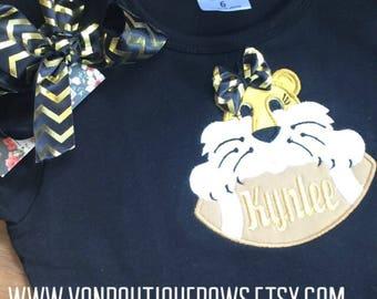 Black gold football tiger white black Applique Matching Boutique 0-3 3-6 6-12 months 2T 3T 4T 5T 6 8 10