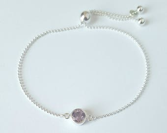 Sterling Silver Birthstone Bracelet, Amethyst, Sterling Silver Ball Chain, Adjustable Bracelet, Dainty Bracelet, Birthday Gift, Girl Gift