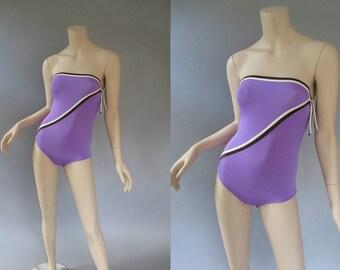 Dior Swimsuit - 80s Bathing Suit - Christian Dior Swim Suit - Strapless Swimsuit - 1980s One Piece - Purple Nylon Swimwear XS