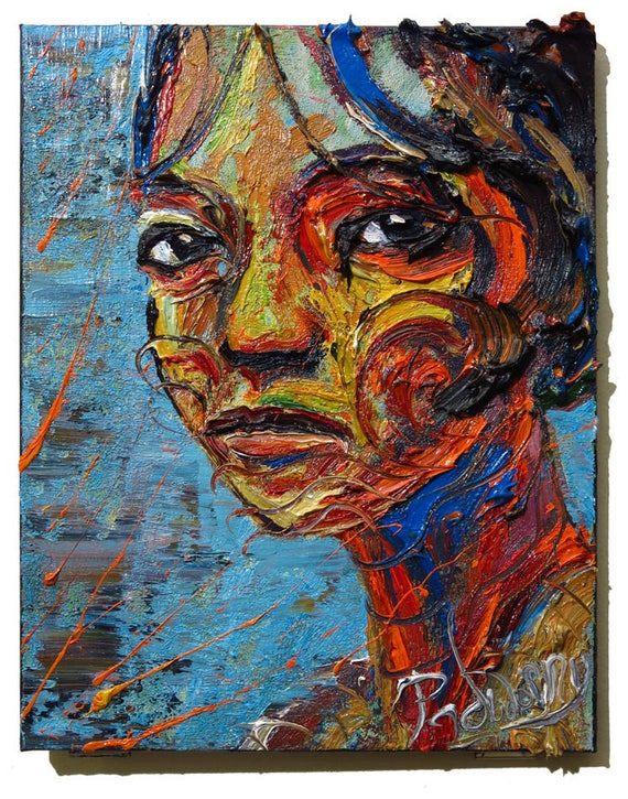SOLD - Oil Paint on Stretched Canvas of 18 by 14 by 3/4 in. / Original oil painting  art abstract portrait signed face gallery nyc