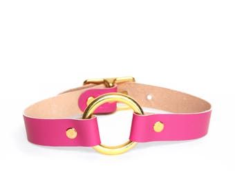 O-Ring Choker -- Hot Magenta Leather