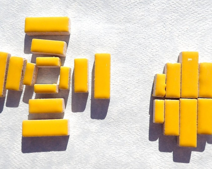 """Lemon Yellow Mini Rectangles Mosaic Tiles - 50g Ceramic in Mix of 3 Sizes 3/8"""" and 5/8"""" and 3/4"""" Sunny Yellow"""
