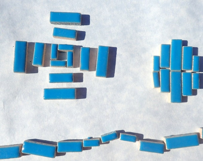 """Mediterranean Blue Mini Rectangles Mosaic Tiles - 50g Ceramic in Mix of 3 Sizes 3/8"""" and 5/8"""" and 3/4"""" in Thalo Blue"""
