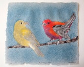 Scarlet Tanagers No. 8 – pulp painting on handmade abaca/cotton/hemp paper (2018), Item No. 266.08