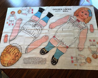 Antique circa 1913 Golden Locks Muslin Saalfield Color Printed Cloth Doll Pattern Uncut Excellent Condition