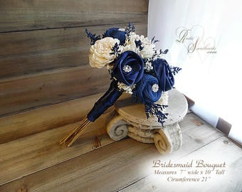 Ships in 4 weeks ~ Navy Blue and Ivory Sola Flower Bridesmaid Bouquet