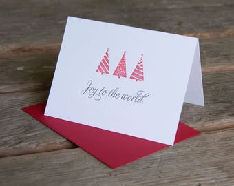 Joy to the World Holiday Card, Modern tree design (letterpress printed) red envelopes eco-friendly