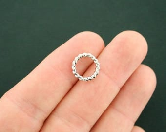 5 Linking Rings Circle Connector Charms Silver Tone 2 Sided 13mm - SC7211 NEW2