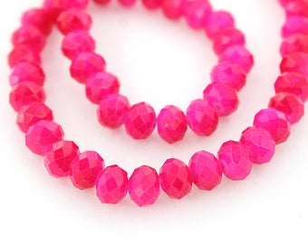 25 Faceted Glass Beads Opaque Pink Crystal Rondelles 8mm x 6mm - BD684