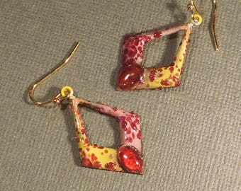 Enamel Earrings with Bead Accent