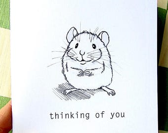 Sweet Little Mouse, Printable Card, Thinking of You, Color it Yourself, Black and White, Adorable Whimsical Charming Card