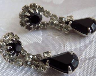 Vintage earrings, black and white crystal elegant drop stud earrings, teardrop earrings, vintage jewelry