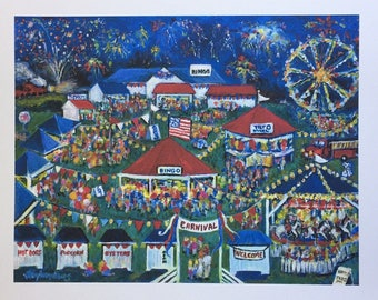 """Limited Edition Folk Art Giclee  """"The Volunteers"""" Half- Price Special  Based on original Acrylic Painting by N Taylor Collins"""